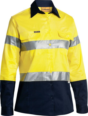 Picture of Bisley Workwear-BLT6456-Womens 3M Taped Hi Vis Drill Shirt Long Sleeve