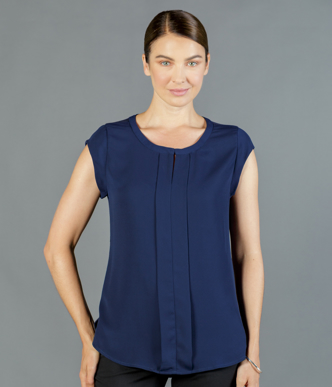 Picture of Gloweave-1886WS-WOMEN'S MACKENIE BOX PLEAT CAP SLEEVE TOP
