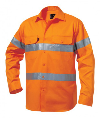 Picture of King Gee-K54250-Hi-Vis Reflective Drill Shirt L/S