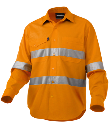Picture of King Gee-K54890-Workcool 2 Hi-Vis Reflective Shirt L/S