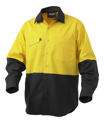 Picture of King Gee-K54870-Workcool 2 Hi-Vis Spliced Shirt L/S
