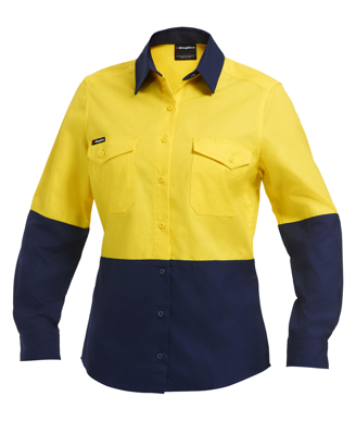 Picture of King Gee-K44543-Workcool 2 Women's Hi Vis Spliced Shirt L/S