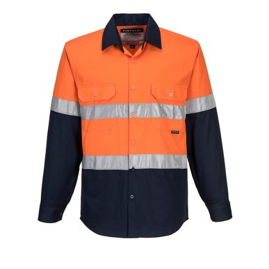 Picture of Prime Mover-MA101-Hi-Vis Two Tone Regular Weight Long Sleeve Shirt with Tape