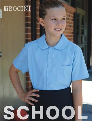 Picture of Bocini-CS1405-Girls Peter Pan Collar Short Sleeve School Shirt
