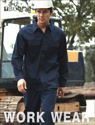 Picture of Bocini-WS0680-Unisex Adults Cotton Drill Work Shirt L/S