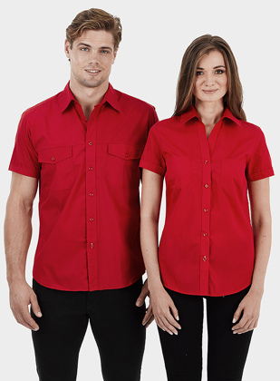 Picture of Identitee-W07(Identitee)-Ladies Short Sleeve Ultra Cool Shirt with Twin Pockets