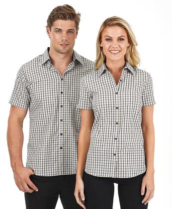 Picture of Identitee-W55(Identitee)-Men's Short Sleeve Double Gingham Check Shirt