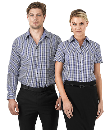 Picture of Identitee-W56 (Identitee)-Ladies Long Sleeve Double Gingham Check Shirt
