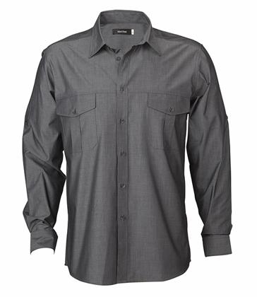 Picture of Identitee-W58 (Identitee)-Men's Long Sleeve Cross Hatch Casual Shirt