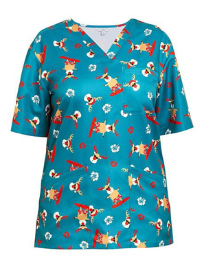 Picture of REINDEER SCRUB V NECK TOP